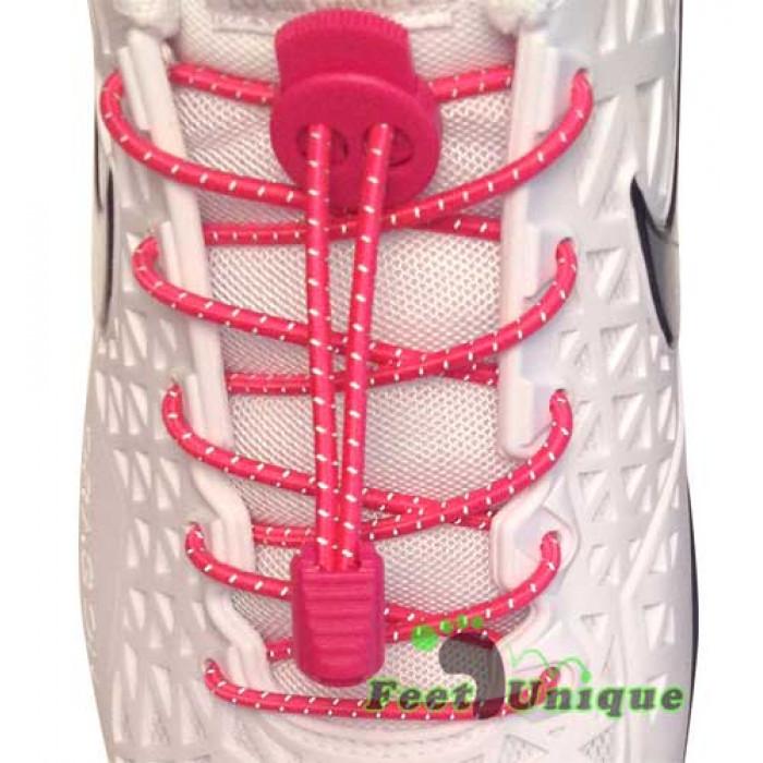 Reflerend felroze schoenveters met sluitsysteem