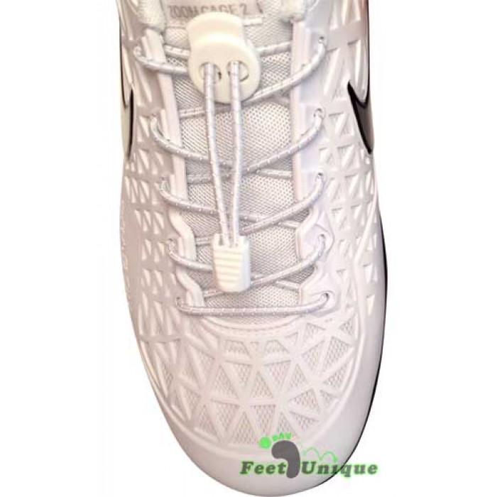 Reflecterend witte schoenveters met sluitsysteem