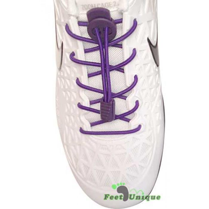 Elastische paarse schoenveters met sluitsysteem