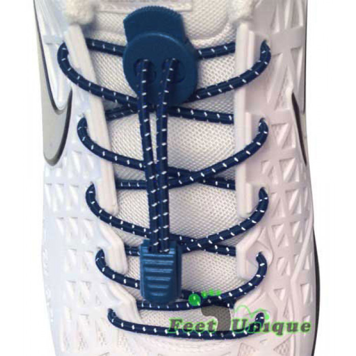 Gestreepte donkerblauwe schoenveters met sluitsysteem