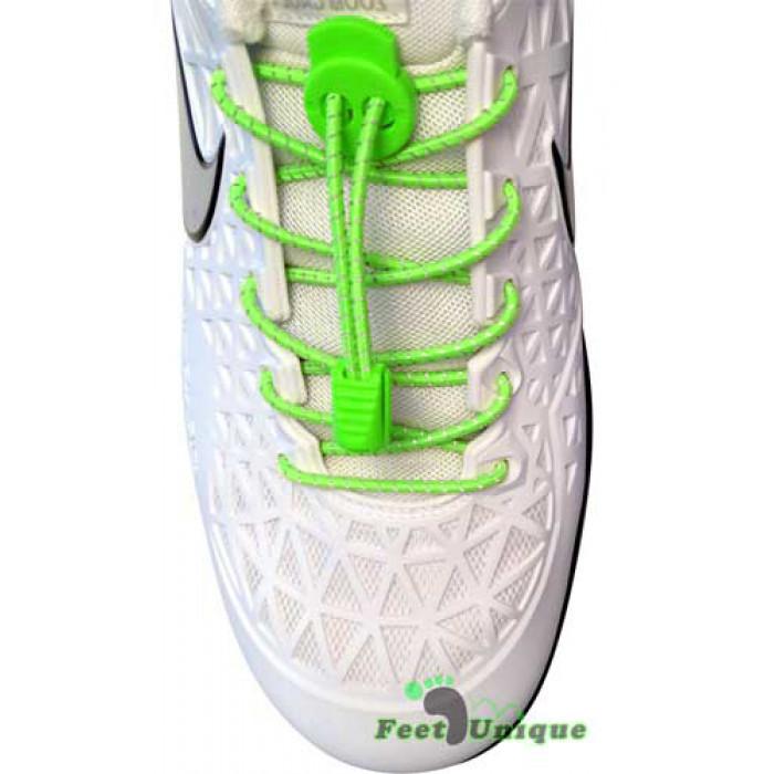 Reflecterend fluo groene schoenveters met sluitsysteem