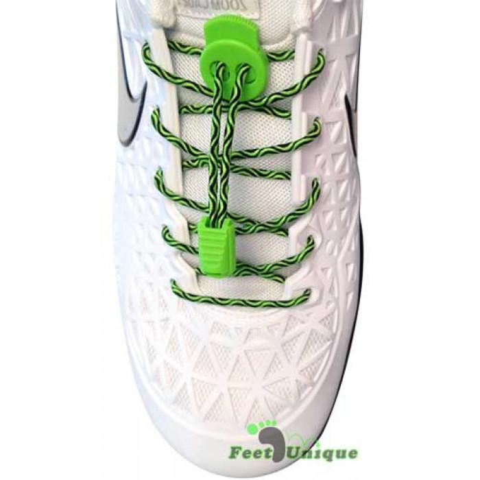 Elastische zwart & fluo groene schoenveters met sluitsysteem