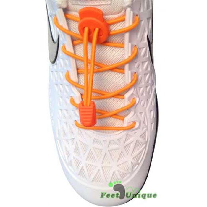 Elastische fluoriserend oranje schoenveters met sluitsysteem