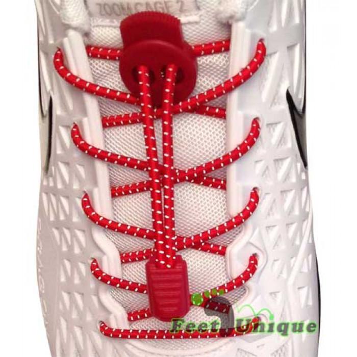 Reflecterende rode schoenveters met sluitsysteem