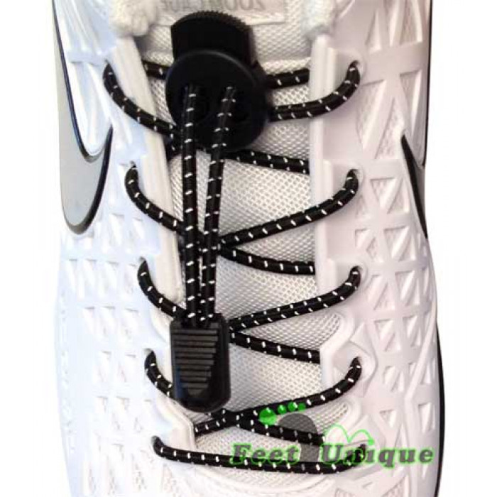 Reflecterend zwarte schoenveters met sluitsysteem