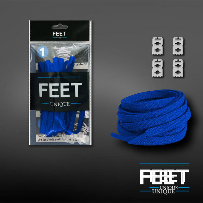 Elastische platte blauwe schoenveters (zonder strik)