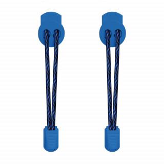 Elastische zwart & blauwe schoenveters met sluitsysteem