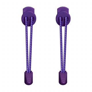 Gestreepte paarse schoenveters met sluitsysteem