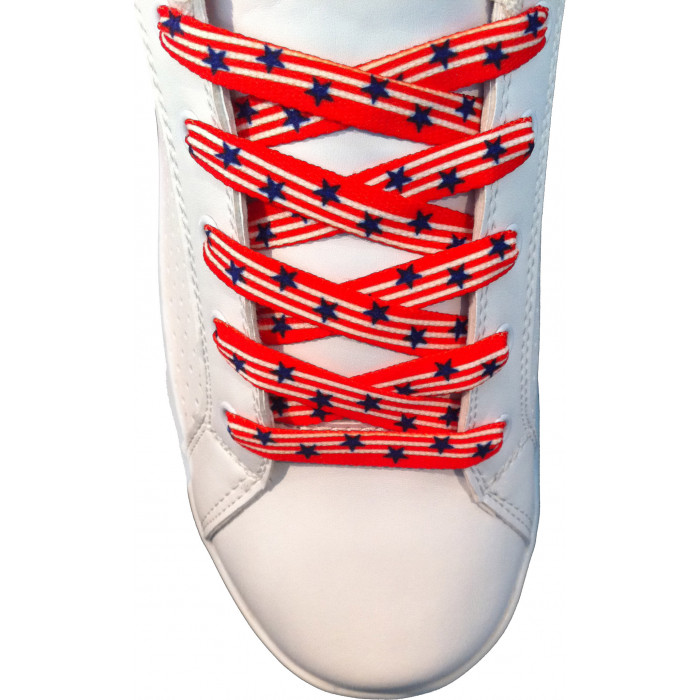 Schoenveters - 10mm Rood met blauwe sterren