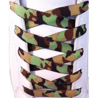 Schoenveters - 10mm Groen, bruin en zwart camouflage patrooon