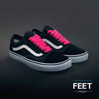 Extra brede felroze schoenveters