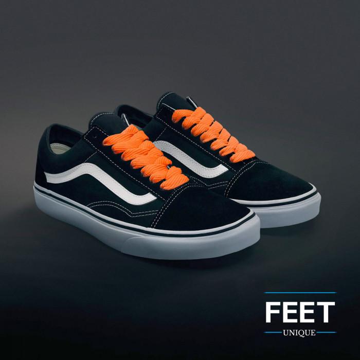 Extra brede oranje schoenveters
