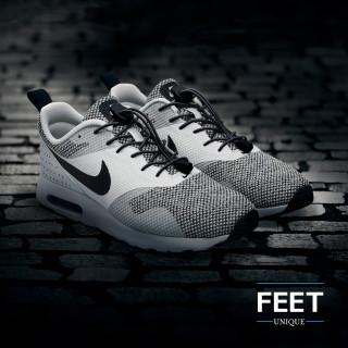 Elastische zwarte schoenveters met sluitsysteem