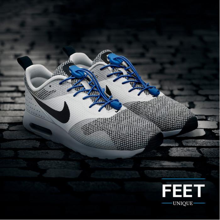 Elastische blauwe schoenveters met sluitsysteem