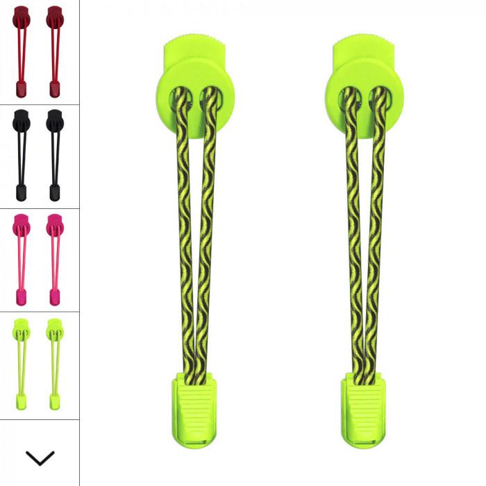 Elastische fluoriserend gele schoenveters met sluitsysteem