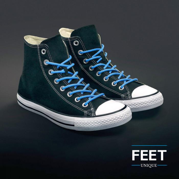Ronde lichtblauwe schoenveters