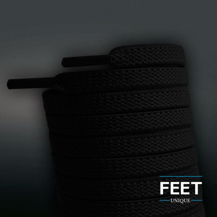 Elastische platte zwarte schoenveters (zonder strik)