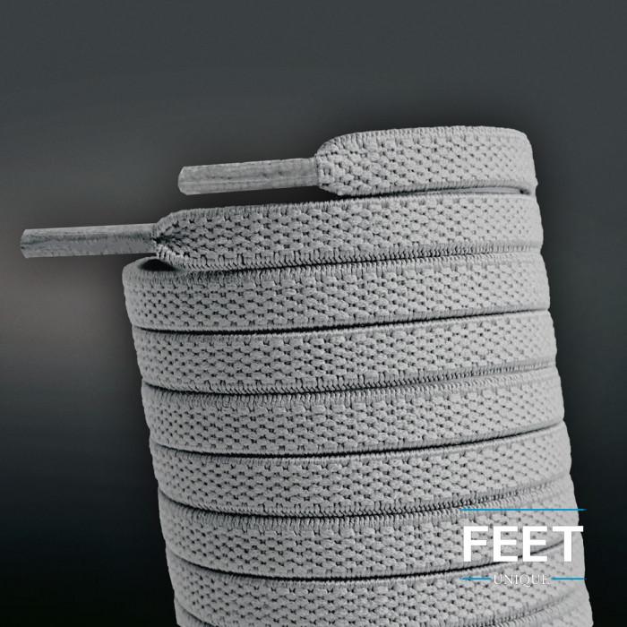 Elastische platte lichtgrijze schoenveters (zonder strik)