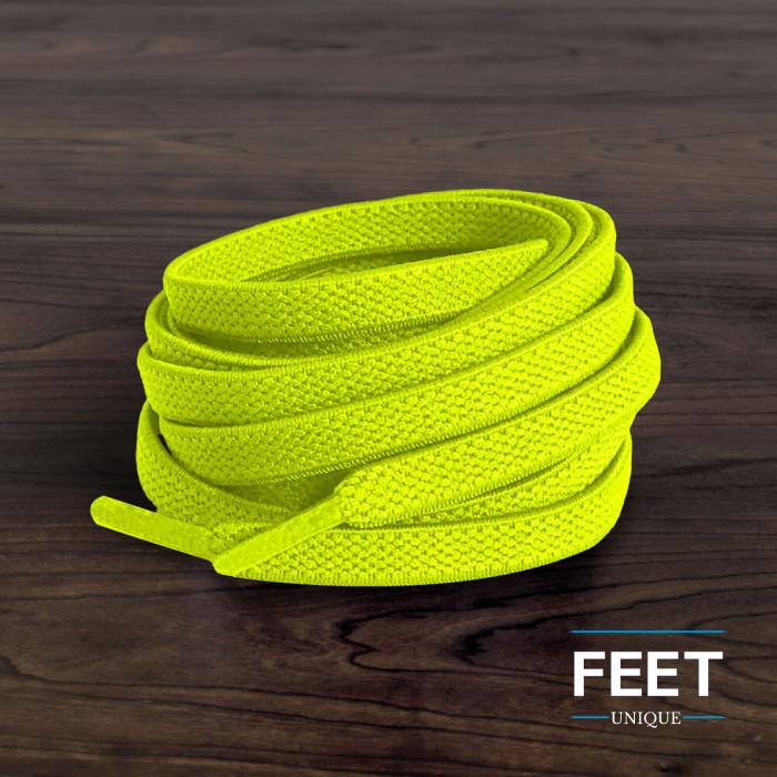 Elastische platte neon gele schoenveters (zonder strik)