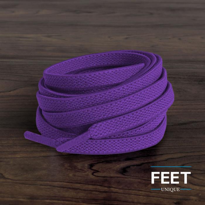 Elastische platte paarse schoenveters (zonder strik)