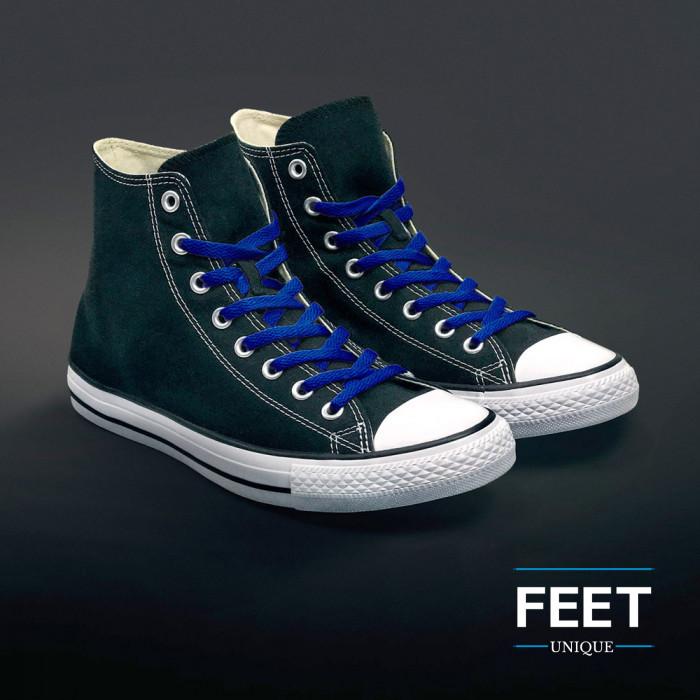 Platte blauwe schoenveters