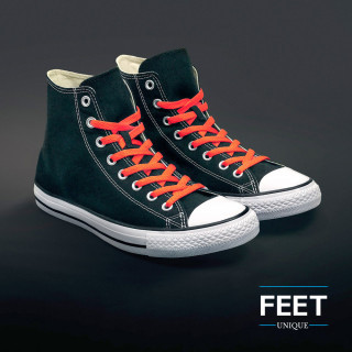 Platte fluo oranje schoenveters