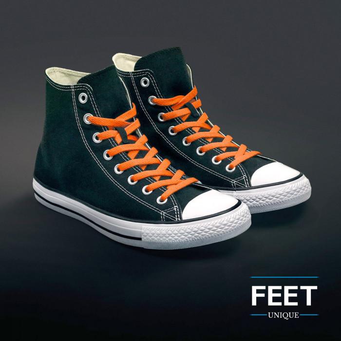 Platte oranje schoenveters