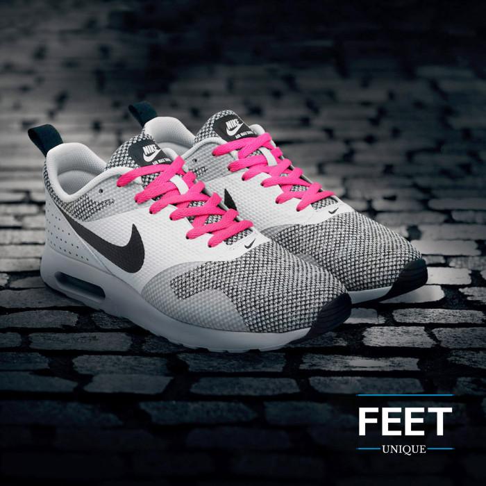 Platte felroze schoenveters